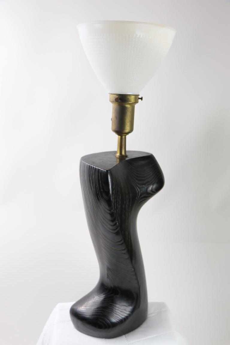 Sculptural Table Lamp in Cerused Oak by Heifetz For Sale 2