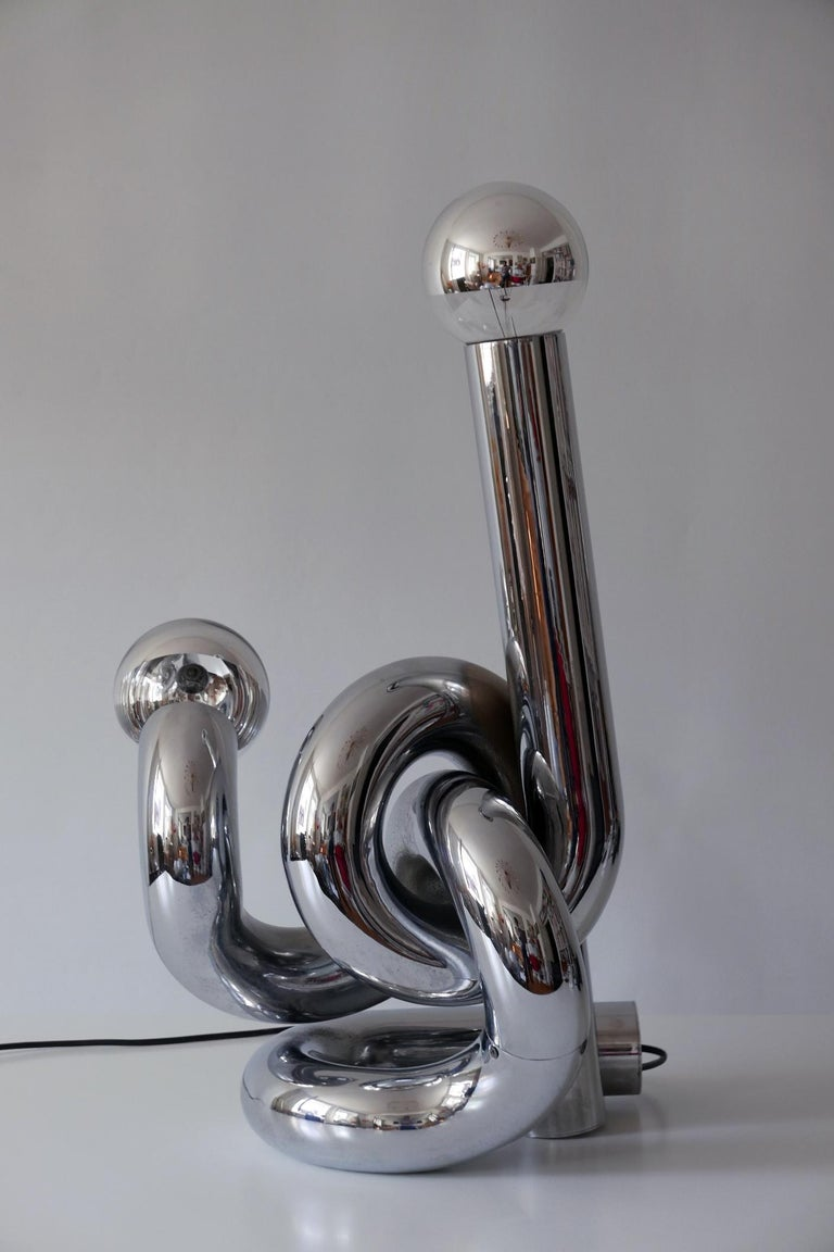 Steel Sculptural Table Lamp or Floor Light 'Bruco' by Giovanni Banci, 1960s, Italy For Sale