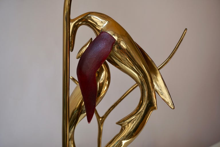 Sculptural Table Lamp with Birds in Brass and Leather, 1970s For Sale 14