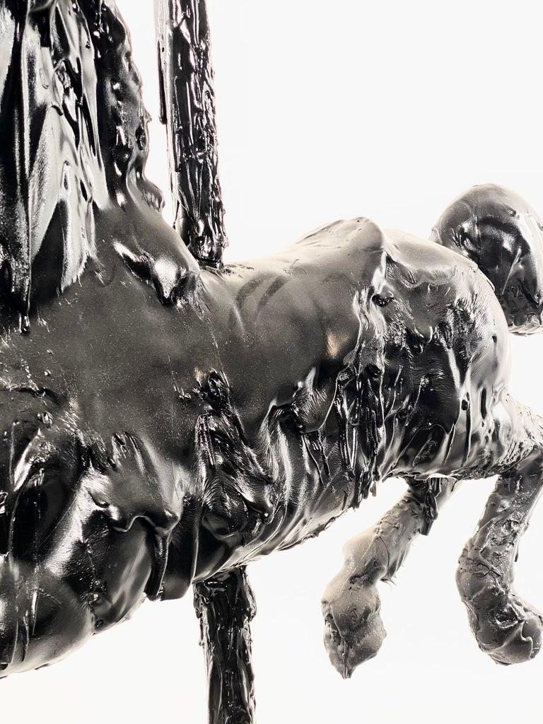 American Black Sculptural Tar Carousel Horse, 21st Century by Mattia Biagi For Sale