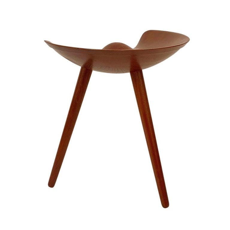 Iconic solid teak stool by Mogens Lassen for cabinetmaker K. Thomsen, Denmark, circa 1942. Stamped