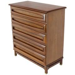 Sculptural Thick Carved Solid Walnut Panels Design 5-Drawer High Chest Dresser