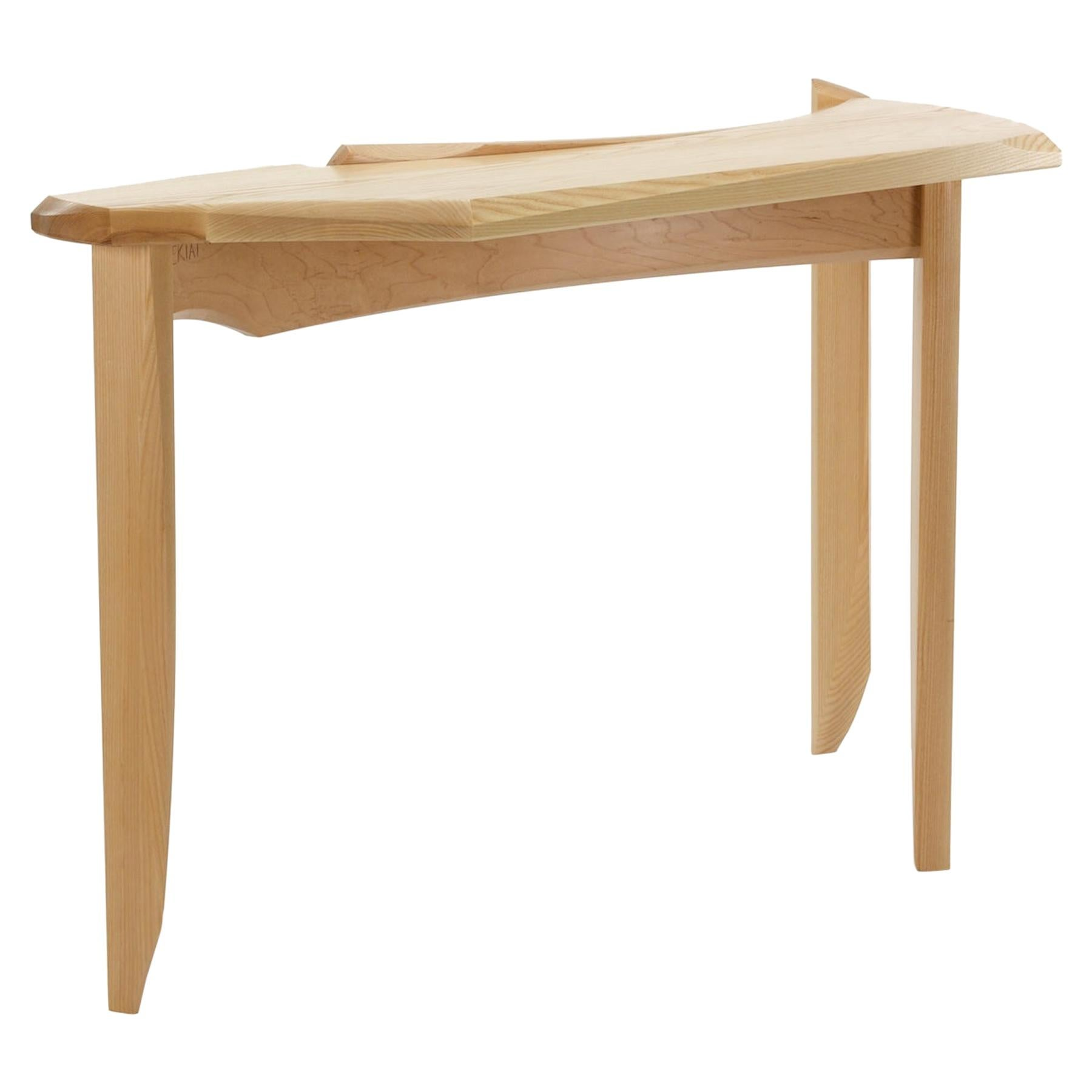 Sculptural Three Legged Console in Bent Maple and Ash by Nico Yektai