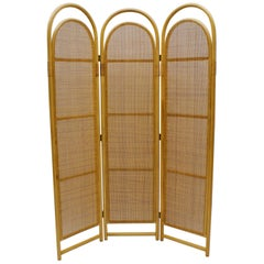 Sculptural Three-Panel Folding Screen Room Divider in Rattan and Wicker, 1960s