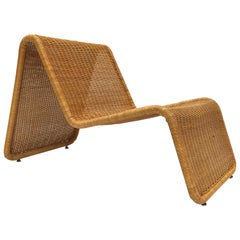 Sculptural Tito Agnoli P3 Woven Wicker Easy Chair Bonacina, Italy, 1960s