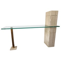 Sculptural Travertine and Brass Console Table