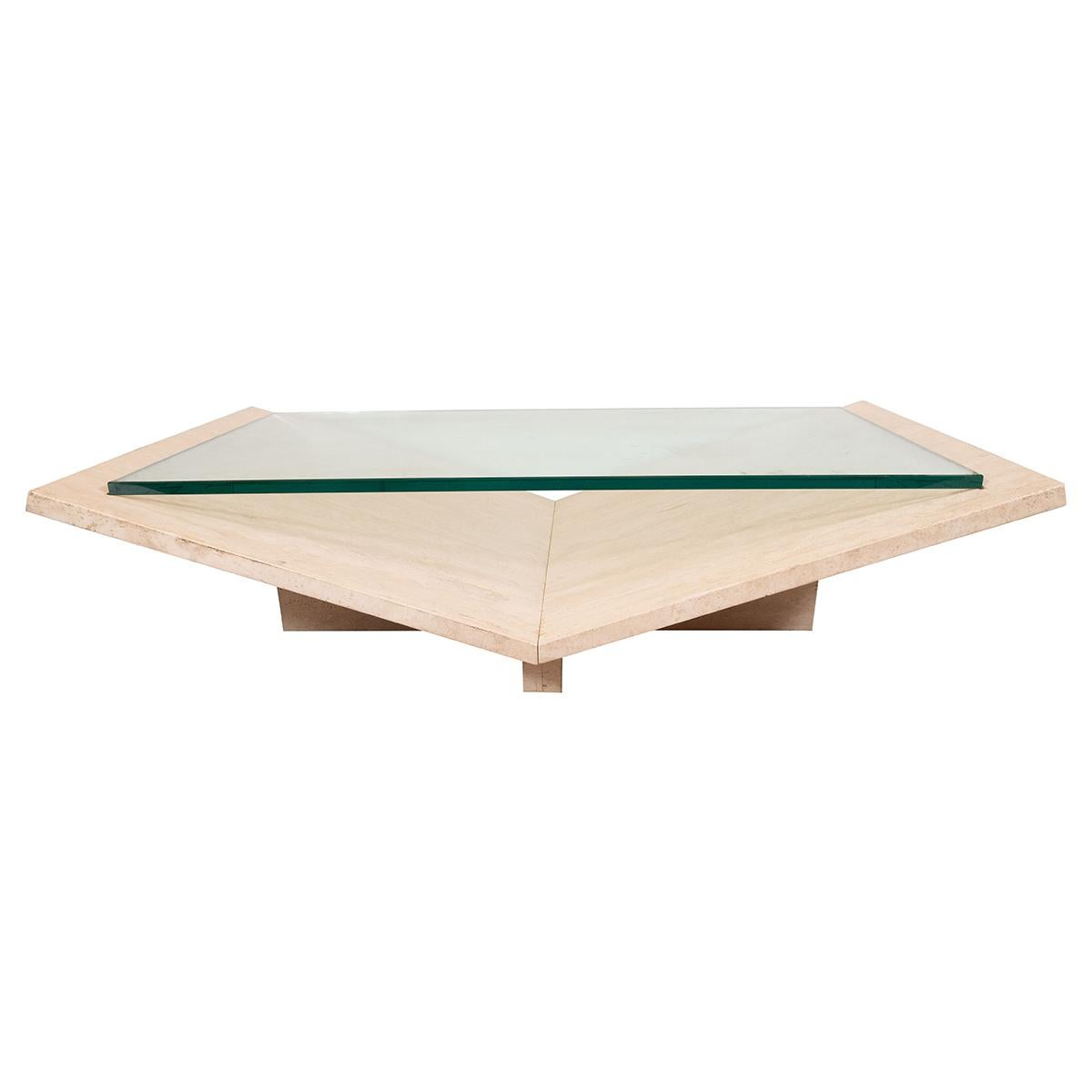 Sculptural Travertine Coffee Table