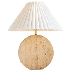 Sculptural Travertine Table Lamp