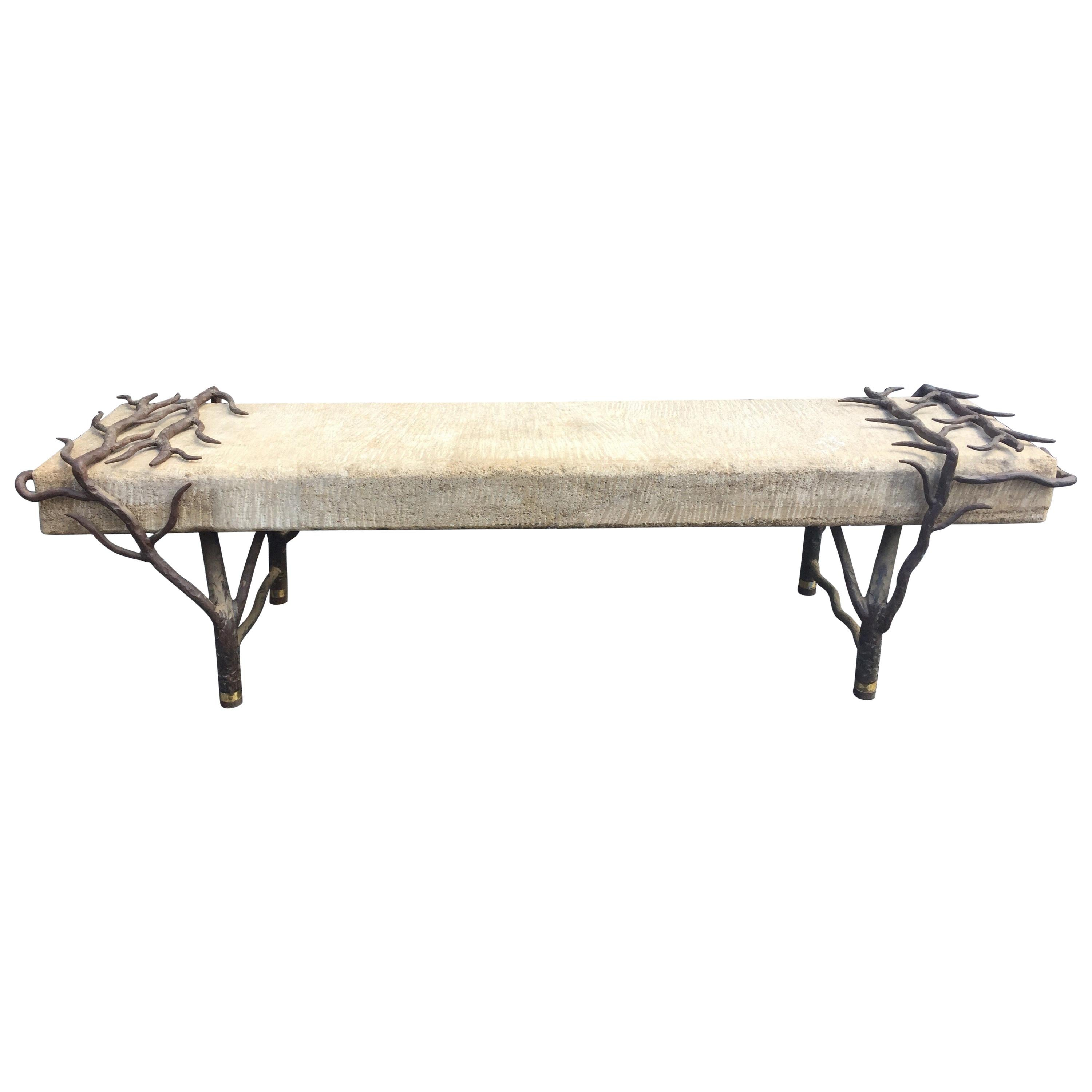 Sculptural Tree Branch Iron and Carved Stone Bench