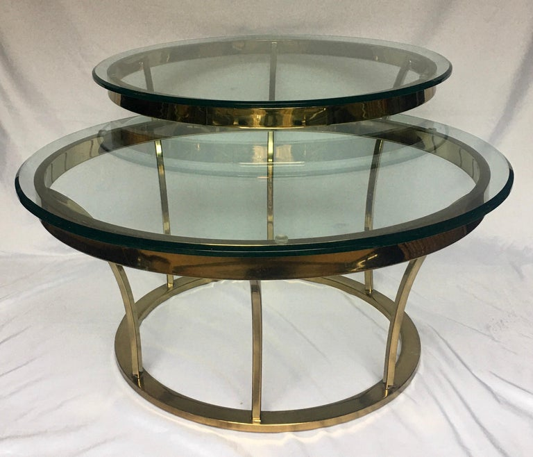 Plated Sculptural Two-Tier Asymmetrical Brass and Glass Round Cocktail Coffee Table For Sale
