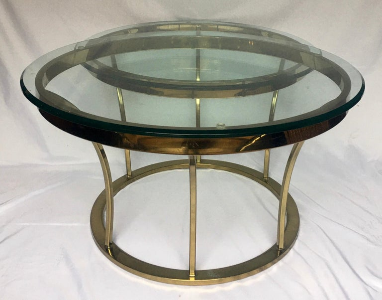 Sculptural Two-Tier Asymmetrical Brass and Glass Round Cocktail Coffee Table In Good Condition For Sale In Lambertville, NJ