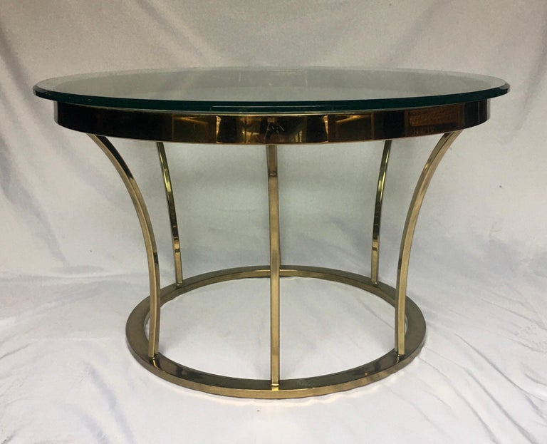 Late 20th Century Sculptural Two-Tier Asymmetrical Brass and Glass Round Cocktail Coffee Table For Sale