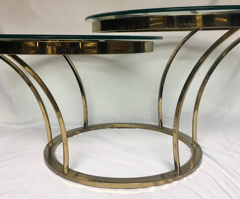 Metal Sculptural Two-Tier Asymmetrical Brass and Glass Round Cocktail Coffee Table For Sale
