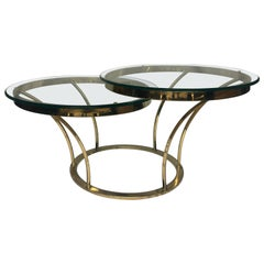 Sculptural Two-Tier Asymmetrical Brass and Glass Round Cocktail Coffee Table