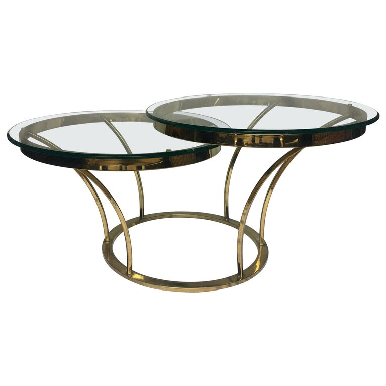 Sculptural Two-Tier Asymmetrical Brass and Glass Round Cocktail Coffee Table For Sale