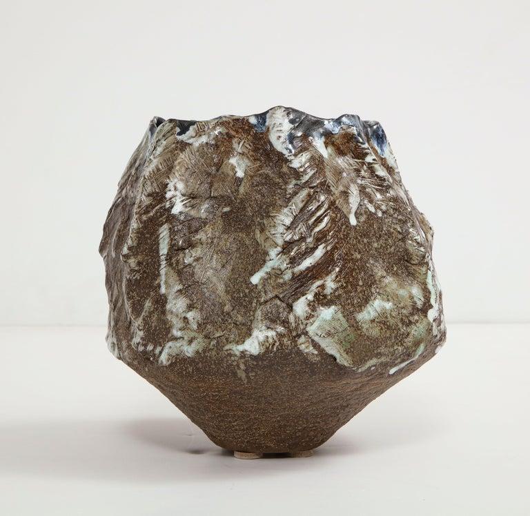 Large sculptural vase #3 by Dena Zemsky. Hand-built, glazed stoneware vase form. Signed and dated on underside.
