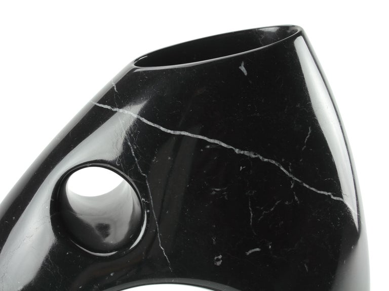 Sculptural Vase in Black Marquina Marble Italian Contemporary Design For Sale 3