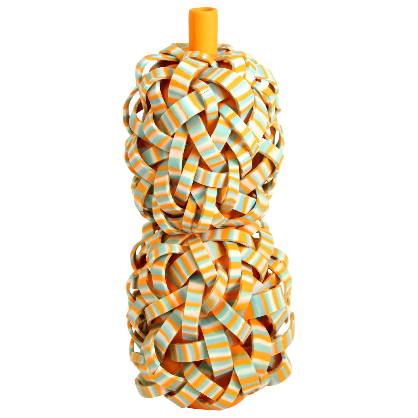 Orange Unique Ceramic Vase by Ahryun Lee