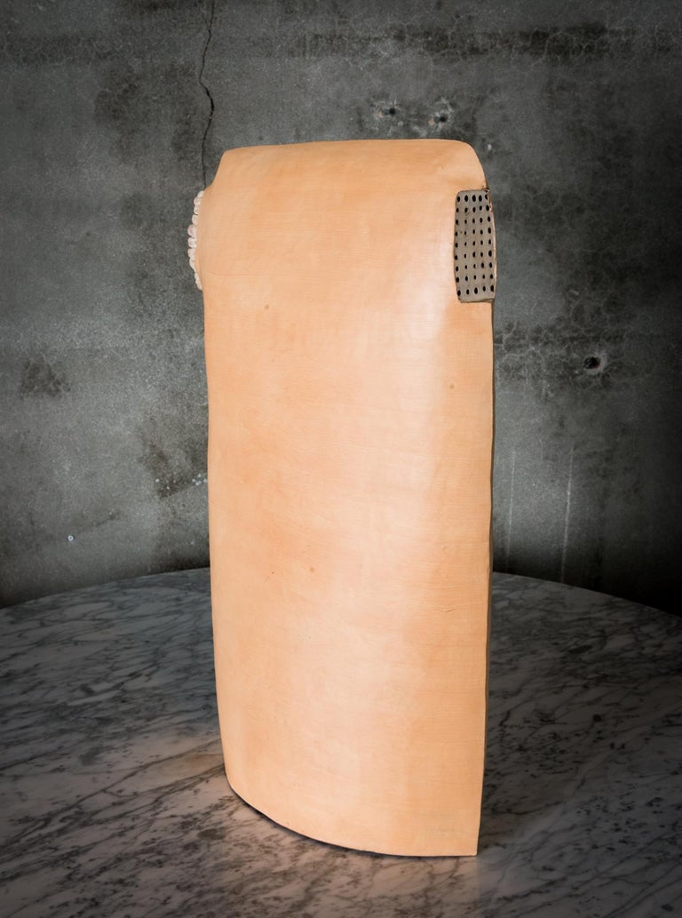 A tall earthenware painted sculptural vessel by Meredith Brickell.