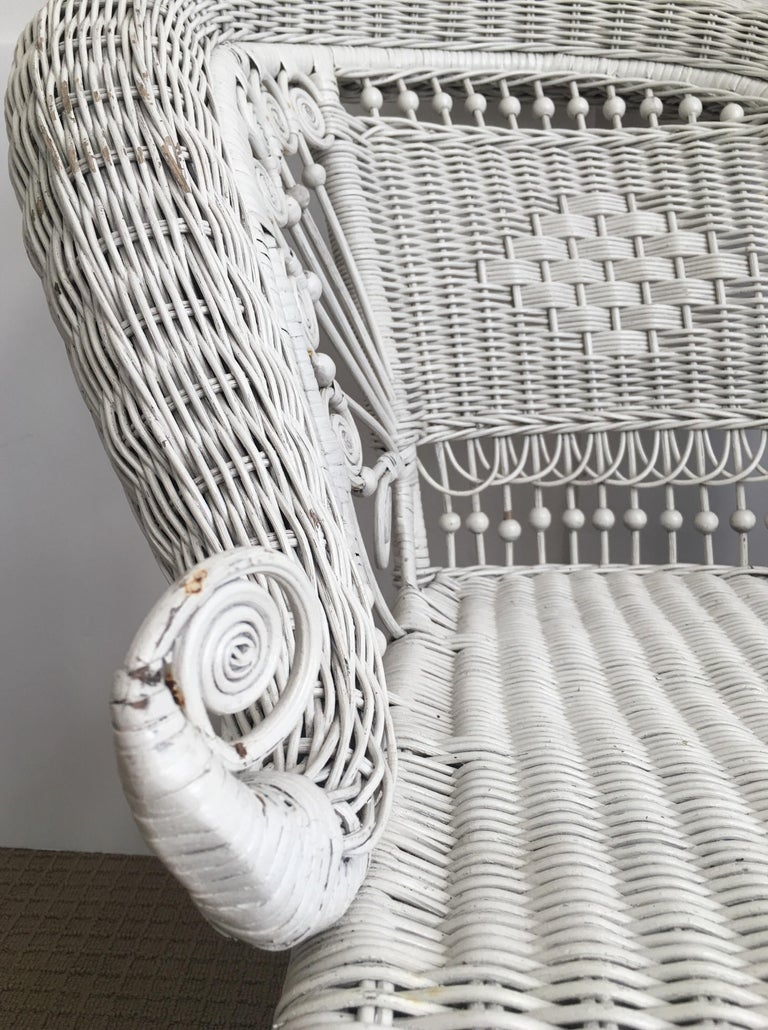 Sculptural Victorian Style Wicker Portrait Chair, Asymmetrical Rolled Right Arm For Sale 6