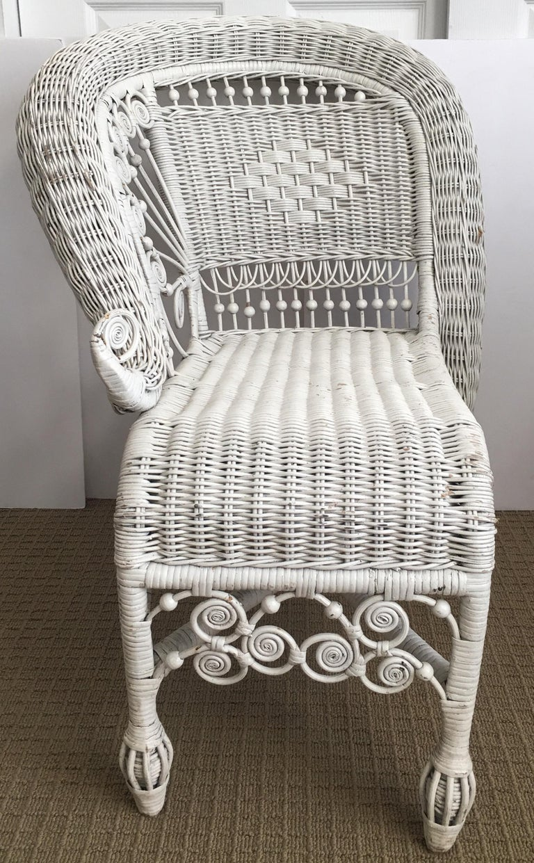 Mid-20th Century Sculptural Victorian Style Wicker Portrait Chair, Asymmetrical Rolled Right Arm For Sale