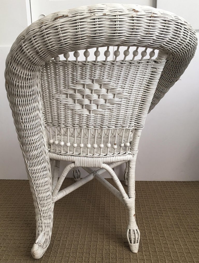 Sculptural Victorian Style Wicker Portrait Chair, Asymmetrical Rolled Right Arm For Sale 1