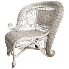 Sculptural Victorian Style Wicker Portrait Chair, Asymmetrical Rolled Right Arm