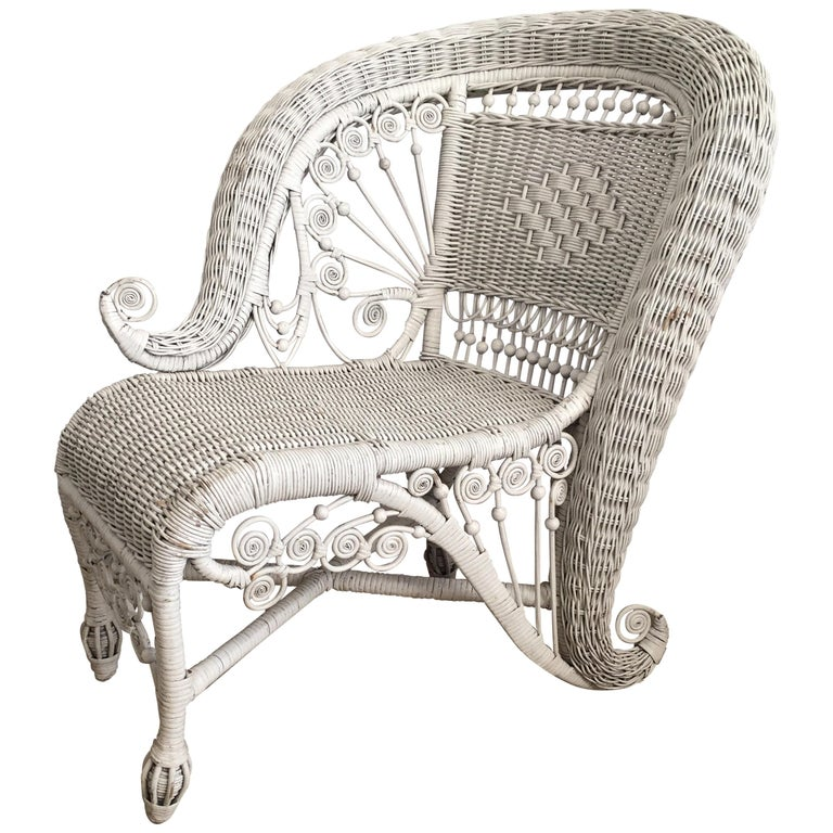 Sculptural Victorian Style Wicker Portrait Chair, Asymmetrical Rolled Right Arm For Sale