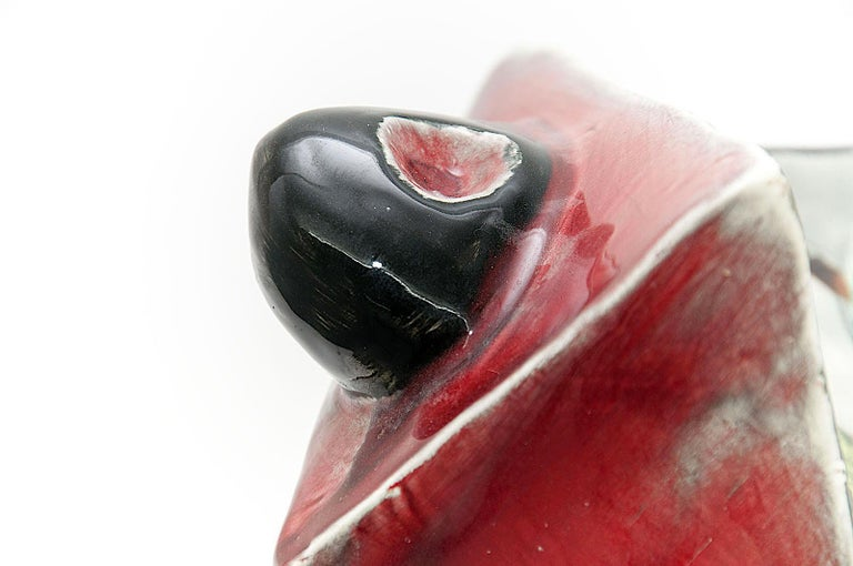 Enameled Sculptural Vide Poche in Ceramic by Vallauris, Signed, 1960 in Red, Black Color For Sale
