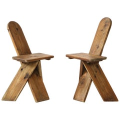 Sculptural Vintage Organic Modern Pine Side Chairs, France, 1960s