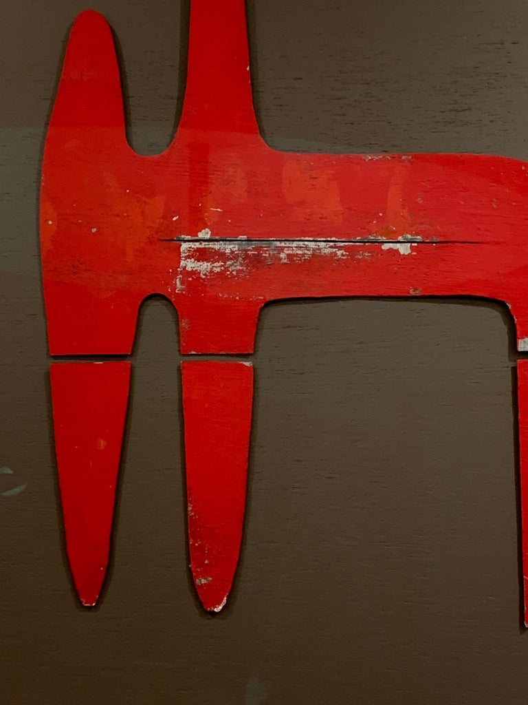 Mid-20th Century Sculptural Vintage Painted Metal Cut-Outs, Mounted and Framed For Sale