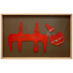 Sculptural Vintage Painted Metal Cut-Outs, Mounted and Framed