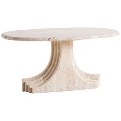 Sculptural Vintage Travertine Coffee Table attributed to Carlo Scarpa