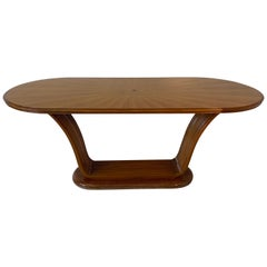 Sculptural Walnut and Marble Dining Table, 1940s