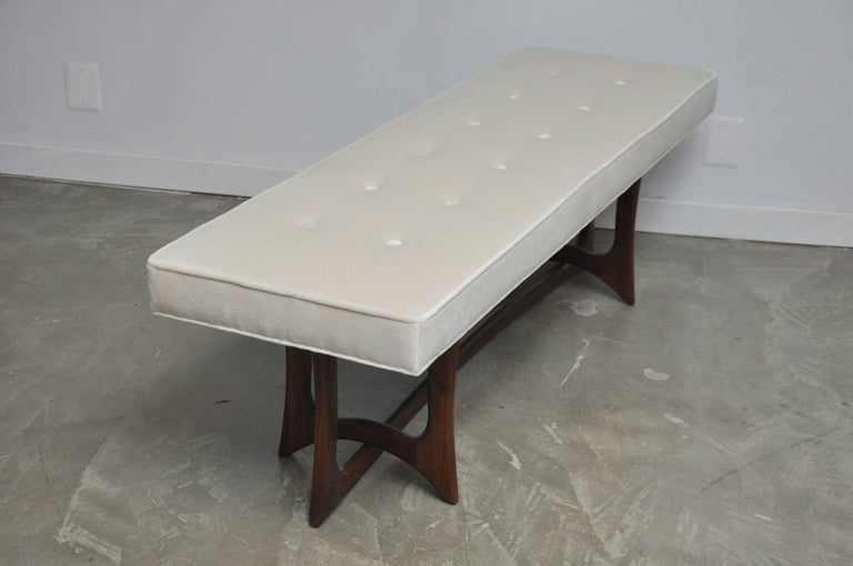 20th Century Sculptural Walnut Bench with Cream Upholstery, Adrian Pearsall For Sale