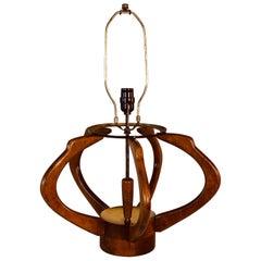 Sculptural Walnut & Brass Melon-Style Modeline Table Lamp