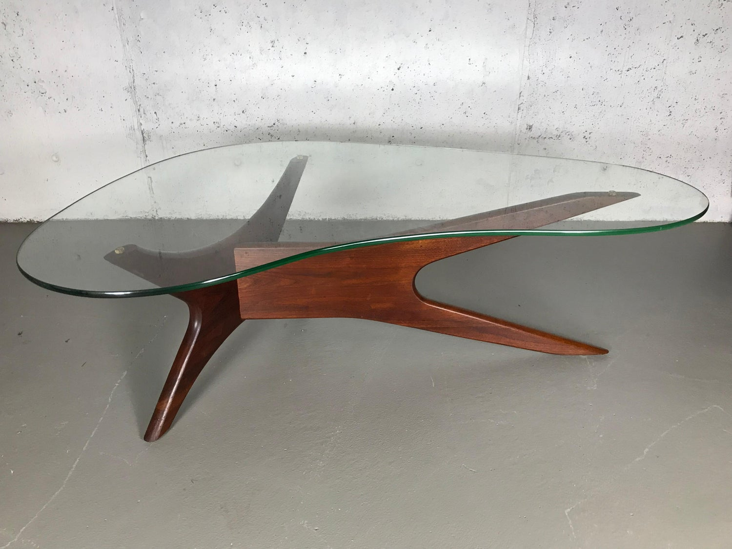 Tremendous Sculptural Walnut And Glass Cocktail Table By Adrian Ncnpc Chair Design For Home Ncnpcorg