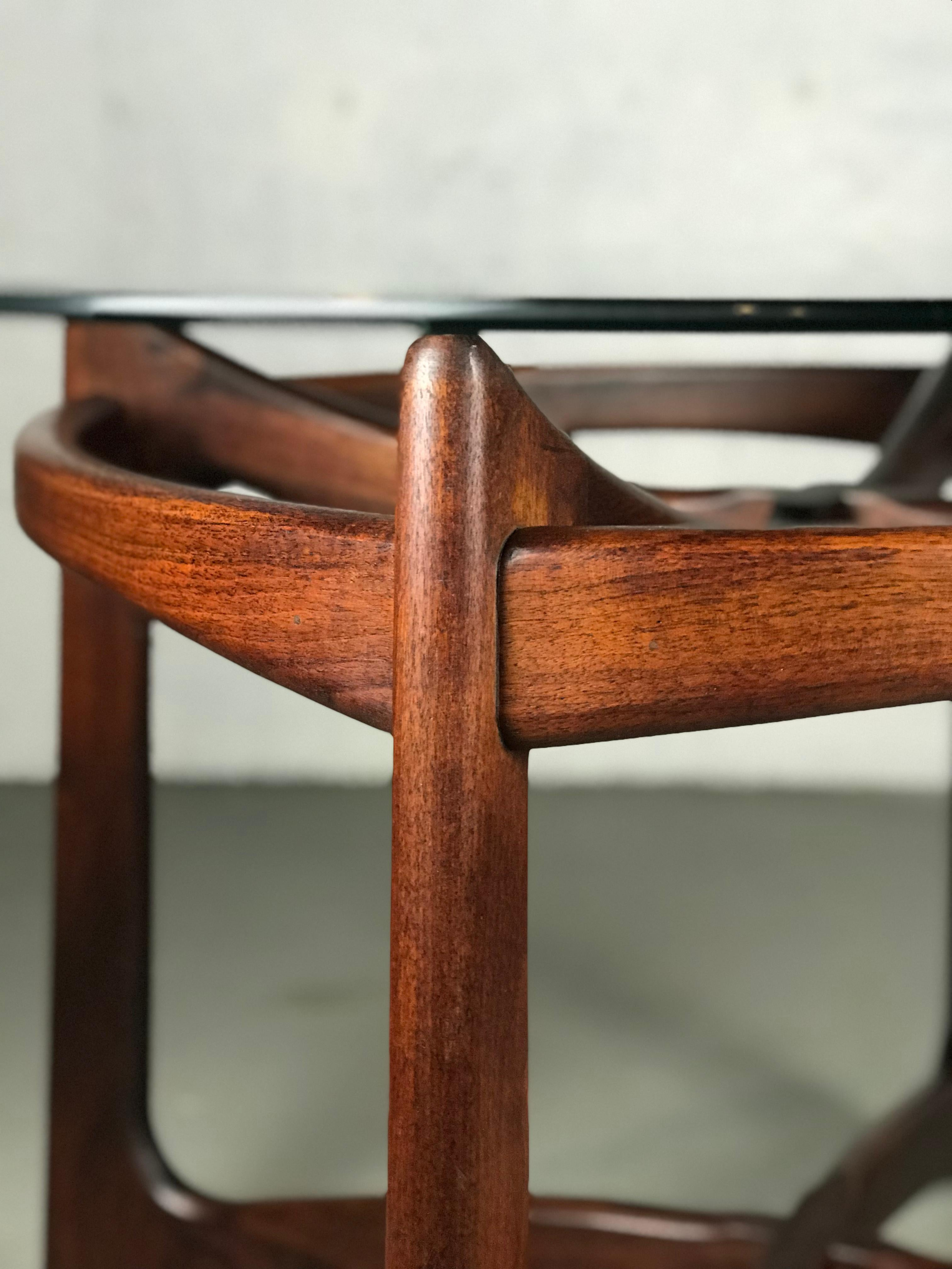 Mid Century Modern Sculptural Walnut And Glass Dining Table By Adrian  Pearsall For Craft Associates