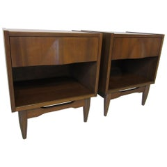 Sculptural Walnut Midcentury Nightstands