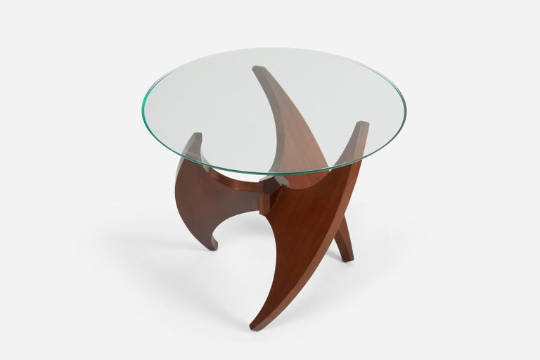 Mid-Century Modern Sculptural Walnut Side Table, 1950s For Sale