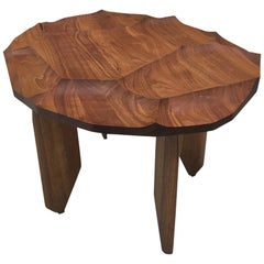 Sculptural Walnut Wood Side Occasional Table with Hand Carved Textured Top