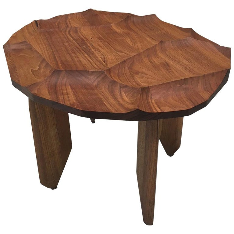 Sculptural Walnut Wood Side Occasional Table with Hand Carved Textured Top For Sale