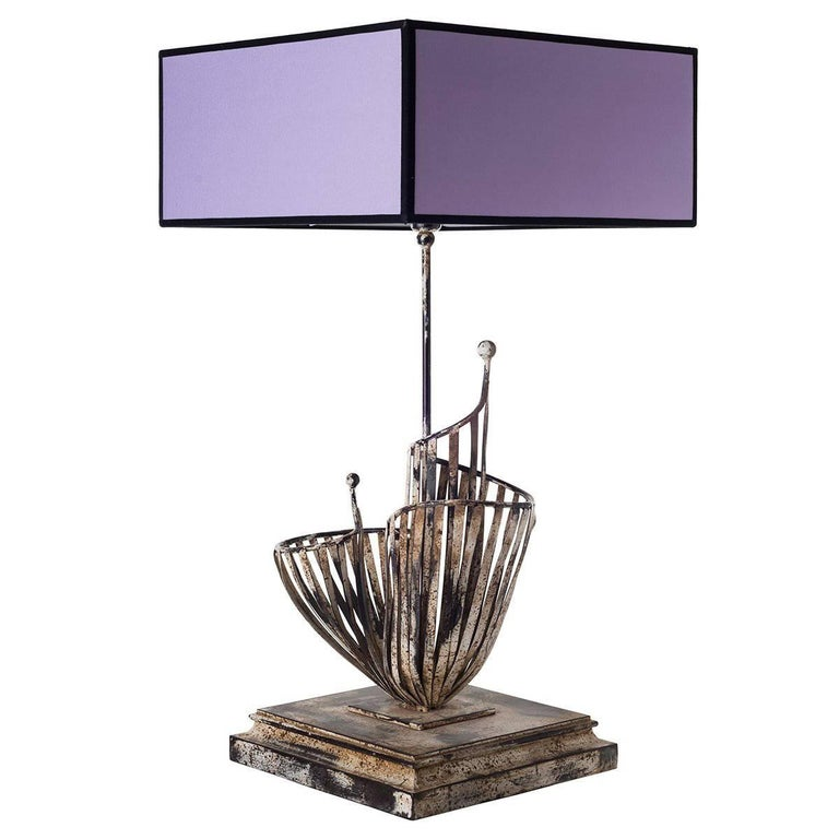 Sculptural Table Lamps in Welded Iron For Sale