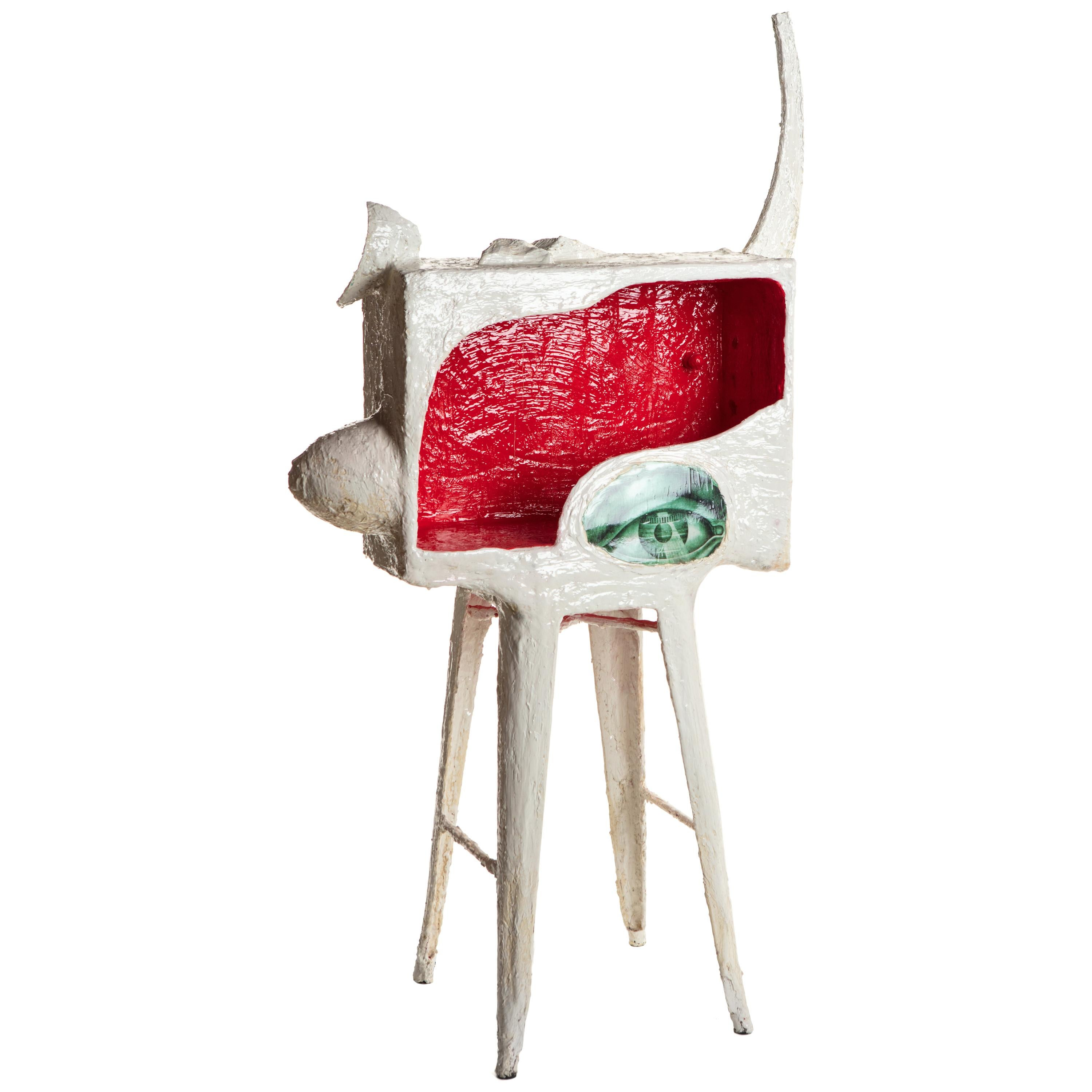 Sculptural White and Red Plaster Bar, 21st Century by Mattia Biagi