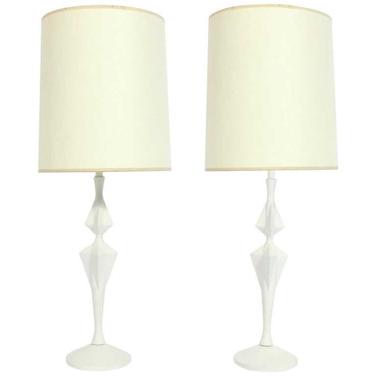 Sculptural White Lamps For Sale