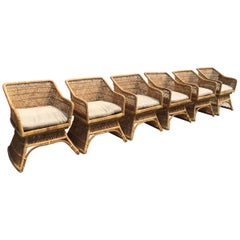 Sculptural Wicker Dining Chairs, Set of 6