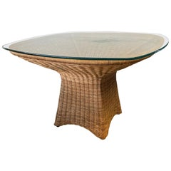 Sculptural Wicker Dining Table