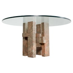 Sculptural Willy Ballez Dining Table in Marble and Glass, 1970s