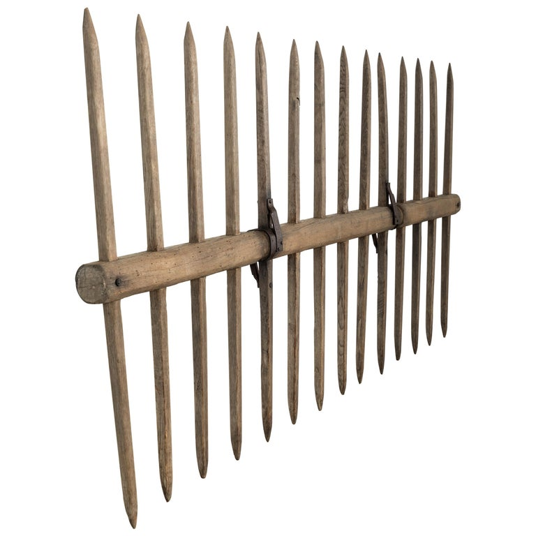 Sculptural Wood and Iron Strap 19th Century Farm Implement For Sale