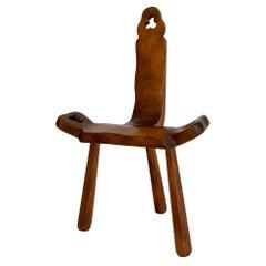Sculptural Wood Tripod Chair